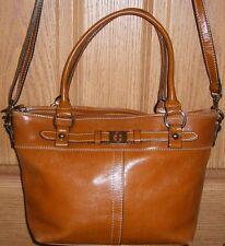 Classy Honey Brown Glazed Leather Giani Bernini Shoulder Bag Purse CrossBody