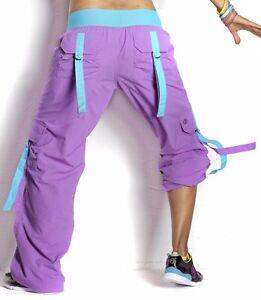 ZUMBA Stellar Orchid CARGO PANTS Converts to Capri Dance Fitness! RARE!! XL XXL