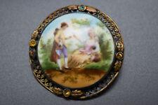 Vintage Victorian Era Painted Czech Signed Porcelain Bisque Brooch