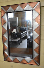 Frame Art Deco Style Mirror Whitemetal and Brass on Carved Wood 60x90cm