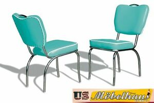 CO26 Turquoise Bel Air Furniture 2 Chairs Diner Kitchen IN Style Der 50er Years