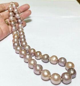 "Stunning Round 11 - 12mm Edison Purple Pink Cultured Pearl Handmade 18"" Necklace"