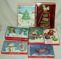 Lot 9 Boxes of Christmas Greeting Cards Santa Reindeer Snowman Foil Penguins