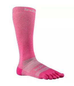 Lot of (4) Pairs INJINJI Compression Ex-Celerator Pink Toe Socks Unisex sz M