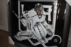 Jonathan Quick Signed puck 23x27 Los Angeles Kings NHL Steiner Framed