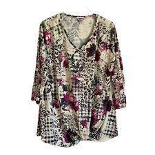Womens Avenue Plus Size 18/20 Leopard Floral Bling Top Blouse