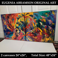 """New ListingAbstract Modern Original Art Oil Textured Painting Stretched 2 Canvases 24"""" x24"""""""