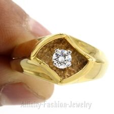 HIP Hop Round Cut D/VVS1 Solitaire Men's Engagement Ring in 14K Yellow Gold Over