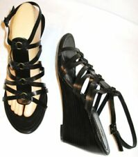 """NICKELS RASCAL DK Brown Strappy Sandals 3"""" Wedge Heel Ankle Strap Size 10 M New"""