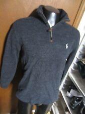 POLO Ralph Lauren CHARCOAL GRAY 1/4 zip Sweater pullover Jacket men Medium M euc