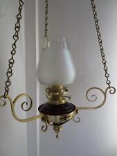ORIGINAL ANTIQUE VICTORIAN (CIRCA1880)HINKS CRANBERRY GLASS SUSPENSION OIL LAMP
