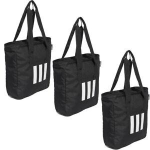 Adidas Womens Tote Bag Handbag 3 Stripes Casual Ladies Originals Handbags Black