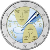 2 Euro Gedenkmünze Finnland 2006 coloriert m. Farbe / Farbmünze UNO / Wahlrecht