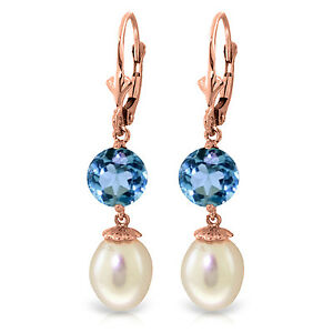 11.1 CTW 14K Solid Rose Gold Elegance pearl Blue Topaz Earrings