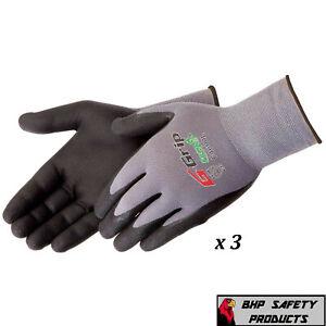 G-Grip Work Glove Ultra-Thin Nitrile Foam Grip Palm Coated Nylon Shell 3 Pairs