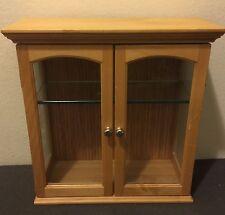 Wooden Curio Wall Mount Storage Cabinet Organizer Display Shelf Glass Box Case