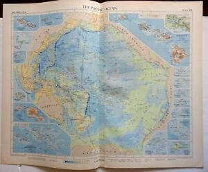 Pacific Ocean Islands Hawaii 1956-7 Geographical Institute vintage folio map