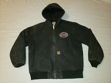 Carhartt J130 BLK Quilted Flannel Lined Hooded Active Jacket LOGO'S Mens M