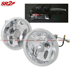 "Universal 4"" Round Clear Lens Chrome Bumper Driving Fog Lamp Lights Kit"