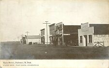 c1907 Postcard Main Street Palermo Nd Real Estate Office Feed Store Mountrail Co
