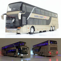 1:43 Double Sightseeing Bus Alloy Cars Pull Back Model Flash Light Vehicle Toys