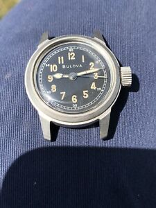 Vintage Bulova Military Watch 32mm Manual Wind Hacking