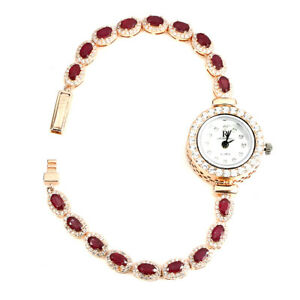 Oval Red Ruby 5x3mm Cz 14K Rose Gold Plate 925 Sterling Silver Watch 7.5 Inches