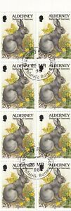ALDERNEY 1998 BOOKLET PANE - RABBIT 20p x 8 STAMPS USED FIRST DAY BUREAU