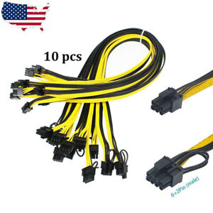 10 x 6 Pin PCI-e To 8 Pin (6+2) PCI-e Power Cable 50cm For Graphic Cards GPU