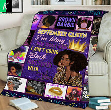September Queen Fleece Blanket Gift For Black Girl Birthday September
