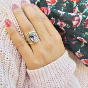 Amethyst 925 Sterling Silver Band Ring Spinner Ring Handmade Ring All Size T-43