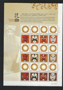 CHINA  Kunqu Opera Mask 12v Special Stamp S/S Arts Culture 昆曲