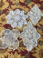 Vintage Hand Crocheted Doilies White 4 pieces White & Off-White