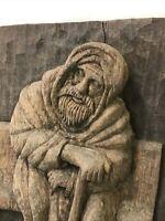 Vtg Wood Carving Folk Art Bearded Man Mid Century Wall Hanging Signed Nouara '72