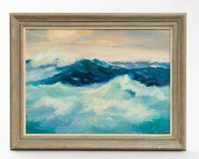 "Signed Lucile Herbert Impressionist Seascape Oil Painting Framed 18.5"" x 14.5"""