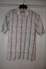 Ben Sherman Shirt Size XL Aus L USA Mens Cream Blue Kite Casual Short Sleeve