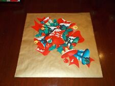 Vtg Christmas Wrapping Paper Gift Wrap Merry Ringing Bells On Gold Nos