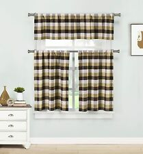 Kingsville Brown Beige Window Curtains: Country Buffalo Checkered Design
