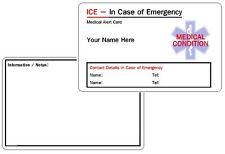 Medical Condition ICE - In Case of Emergency - Medical Alert ID Card - Custom .
