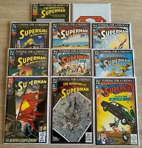 Superman - Death and Funeral for a Friend Complete Set of 11 in NM! (DC, 1993)