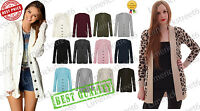 Women Long Sleeve Jumper Top Ladies Chunky Aran Cable Knitted Grandad Cardigan