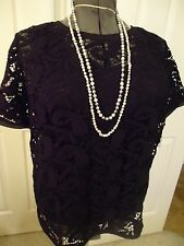 AnnTaylor black cotton lace top for summer travel, sh slvs, xl