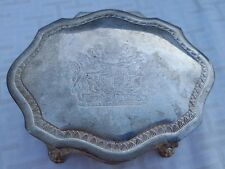 VINTAGE ELEGANCE ENGRAVED SILVER PLATED ZINC JEWELRY BOX, BRITISH COAT OF ARMS