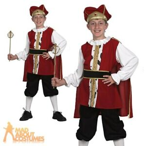 Childs Medieval King Henry VIII Costume Boys Book Day Kids Fancy Dress Outfit