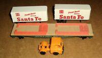 A.T. & S.F. Flat Car 90806 with Piggy Back Loads HO Scale,Santa Fe,Orange Truck