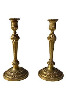 Paire de Bougeoirs Flambeaux en Bronze Doré Époque XIX ème Antique Candlesticks