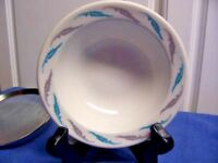 Homer Laughlin Best China Blue Gray Leaves rimmed Soup bowl set of 5