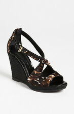 NEW $475+ Burberry  ABBEY  Wedge Sandal Shoe Calf Hair Sz 36 ~ Spain Black Brown