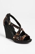 NEW $475+ Burberry  ABBEY  Wedge Sandal Shoe Calf Hair Sz 36 ~ Spain Black Brown