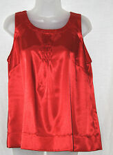 MARKS & SPENCER (UK14 / EU42) RED SATIN 'WITH STRETCH' SLEEVELESS TOP - NEW